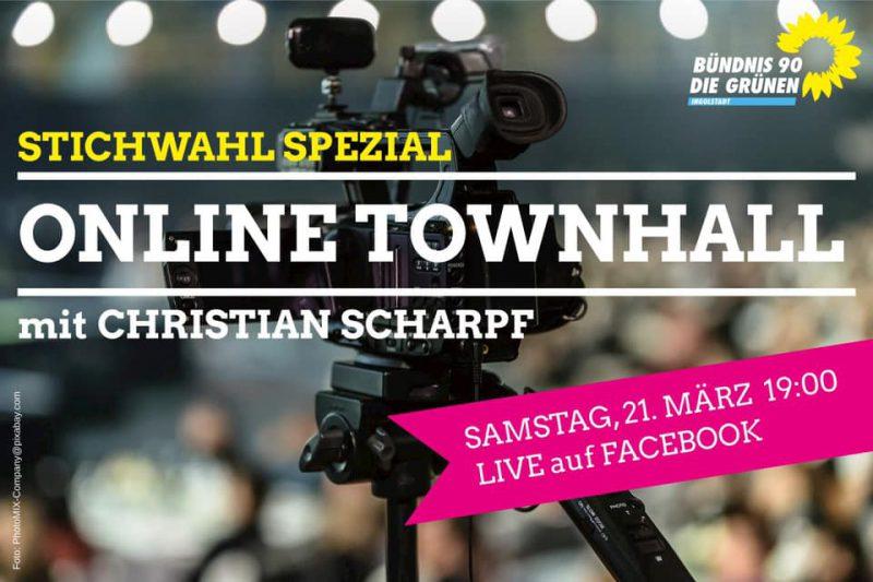 Christian Scharpf zu Gast bei den GRÜNEN – Online-SPEZIAL zur OB-Stichwahl. Fragen und Antworten, Samstag 21. März 19 Uhr live auf Facebook